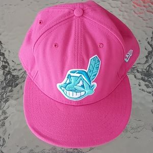 MLB Cleveland Indians Pink Fitted Baseball Hat